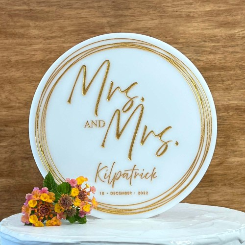 Round White Acrylic Wedding Cake Topper With Name & Date