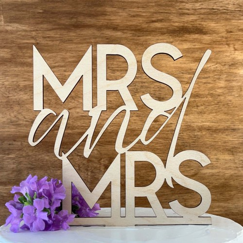 MRS and MRS Wedding Cake Topper - Wood