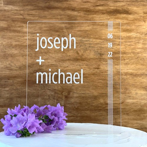 Tall Modern Etched Cake Topper with Names & Date