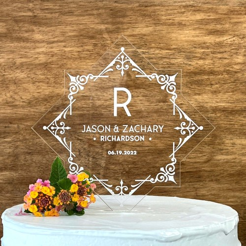 Scroll Design Engraved Acrylic Cake Topper With Names and Date
