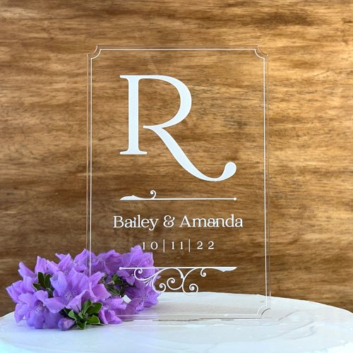 Tall Etched Cake Topper with Large Initial, Names & Date