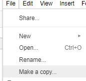 make a copy google sheet