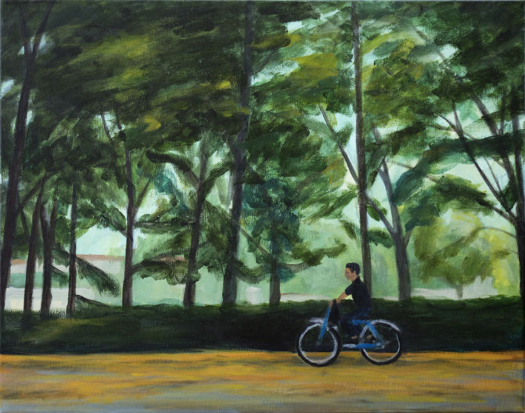 Biking Through Florence Painting