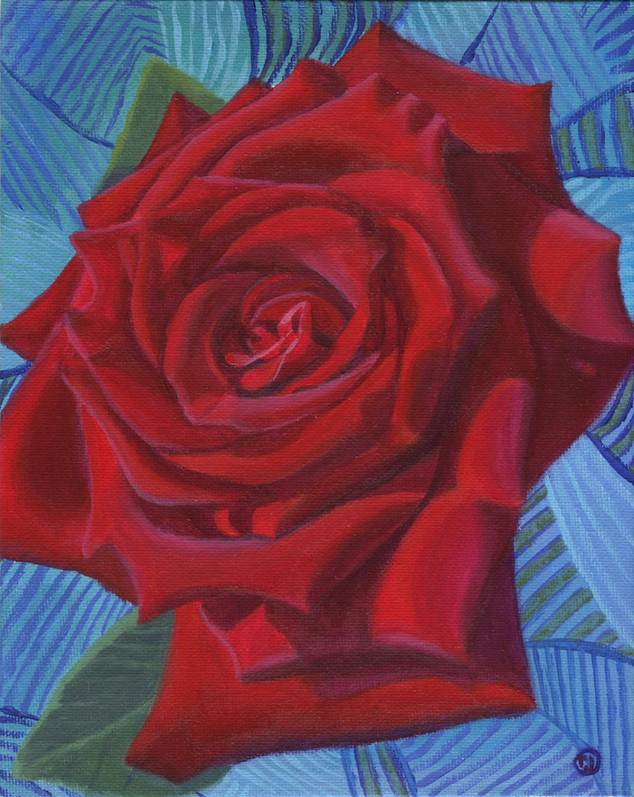 Red Rose in Blue 1 Painting