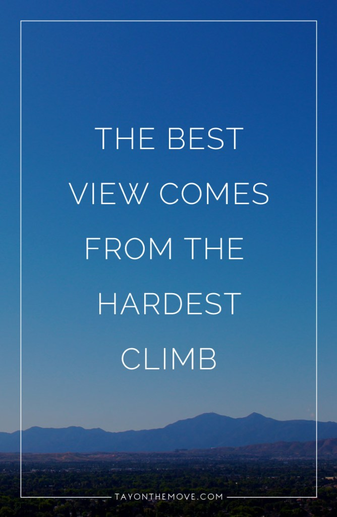 Inspirational Quote: The best view comes from th hardest climb
