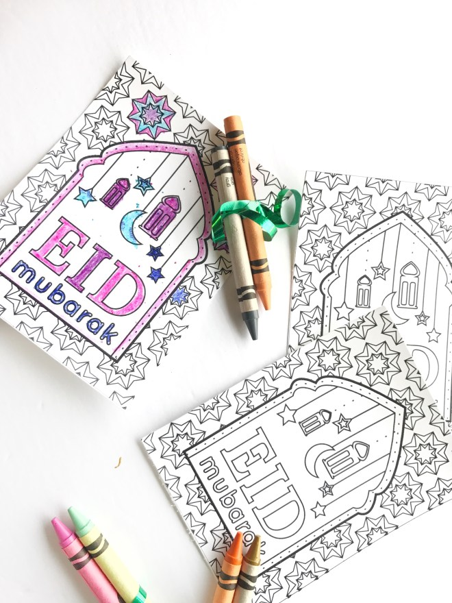 DIY Eid Coloring Favors