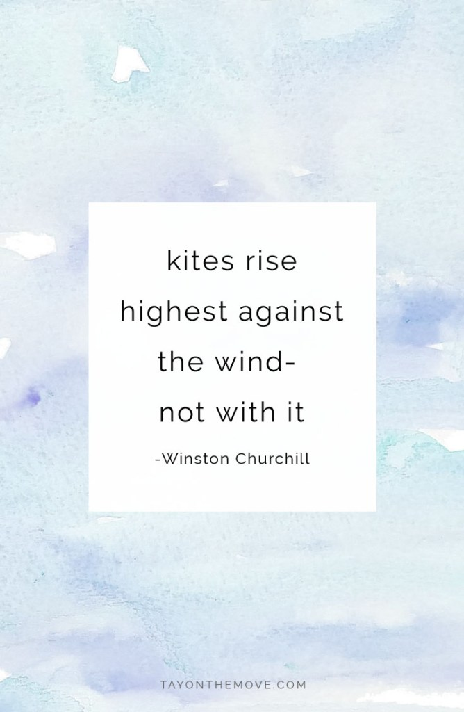 kites rise highest against the wind-  not with it -Winston Churchill