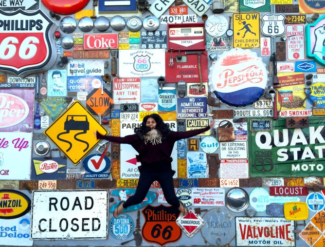 Road Trip LA to Chicago Day 2- Route 66 Diner Wall, Albuquerque, New Mexico