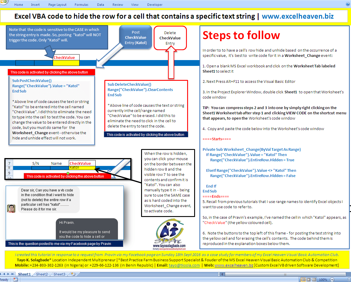 Excelvb Case Study Code To Hide The Row For A Cell That