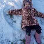 A photo of a girl making snow angels in Tayport snow