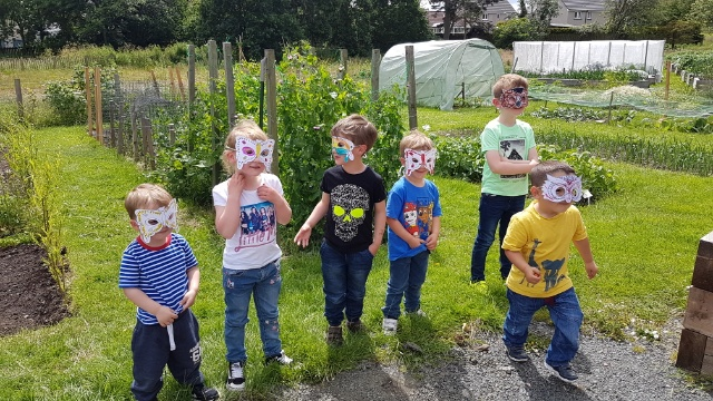 Children with wildlife masks on