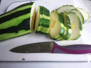 A photo of sliced marrow