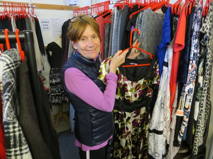 A photo of Kathleen at a charity shop