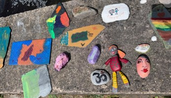 A photo of painted lockdown rocks