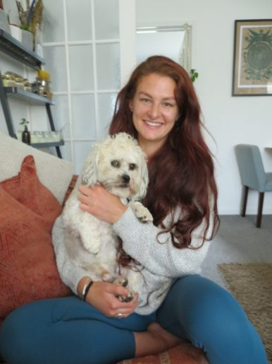 A photo with Katrino with her dog