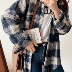 Fashion Blue Check Printed Long Sleeve Casual Relaxed Button Shirt