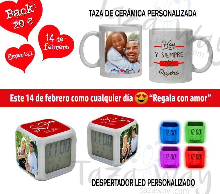 Pack San Valentín taza + despertador