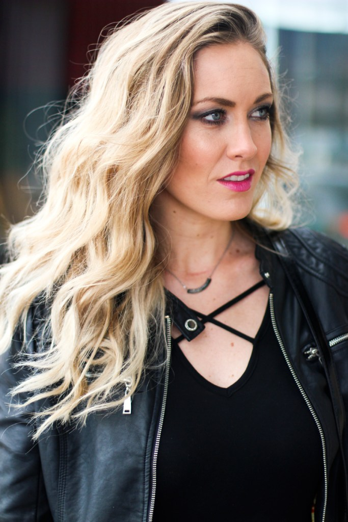 criss cross top, leather jacket, pink lip, lancome
