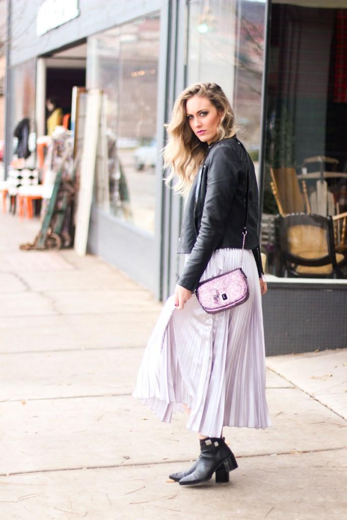 Nine West, pleated metallic skirt, cross body bag