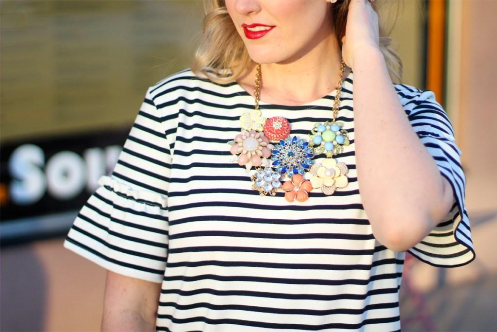 statement necklace, striped dress, Kingdom & State
