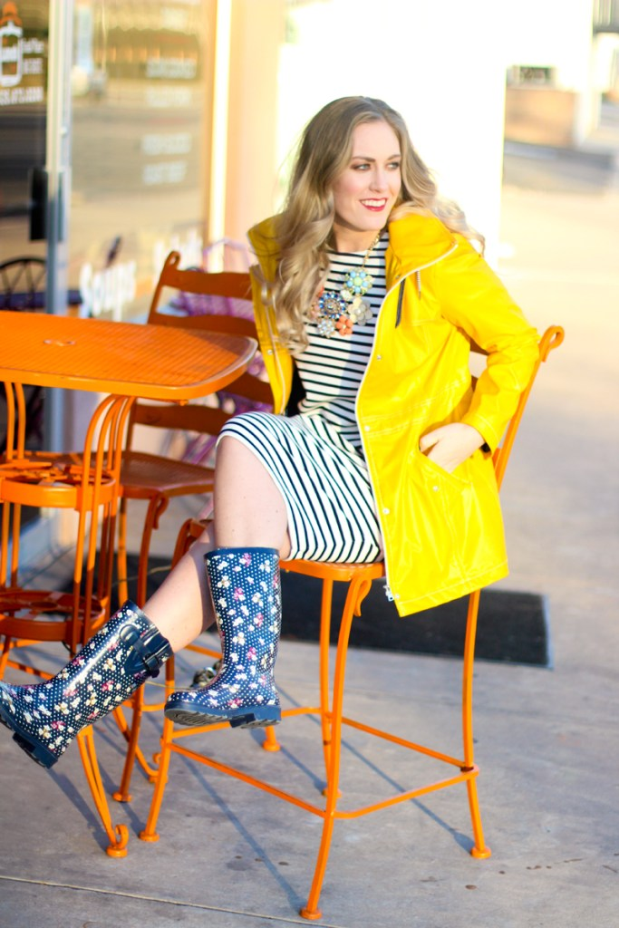 yellow rain jackets, striped dress, rain boots