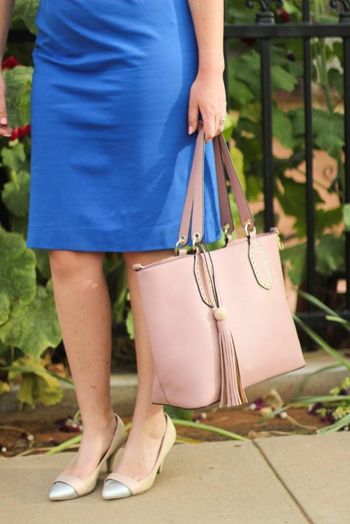Modest Dresses for Under $100, cobalt blue, blush purse, spring outfit ideas