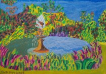 Fountain in a Sydney, £350: Oil Pastel 59 x 33 cms