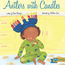 """Book cover for """"Antlers with Candles,"""" Written by Chris Barash Illustrated by Melissa Iwai"""