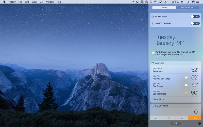macOS 10.12.4 Night Shift Notification Centre Options