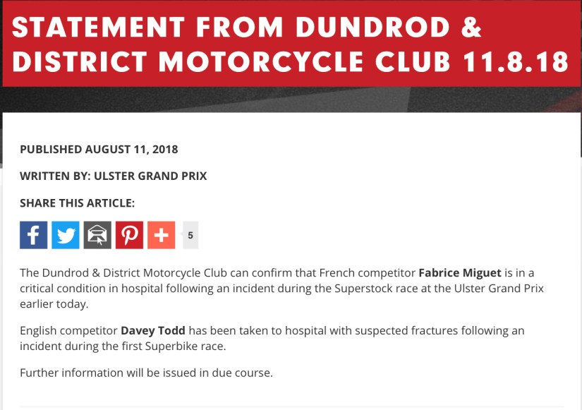 Statement from The Dundrod & District Motorcycle Club 11/08/2018