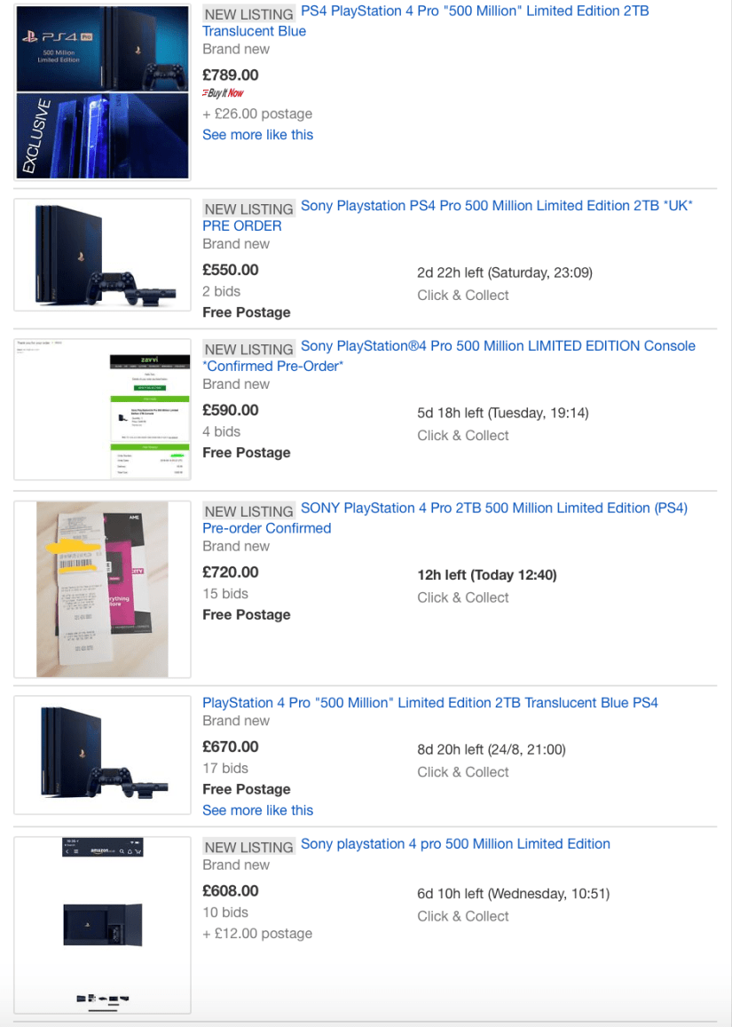 eBay PS4 Pro 500 Million Limited Edition Listings 16/08/2018