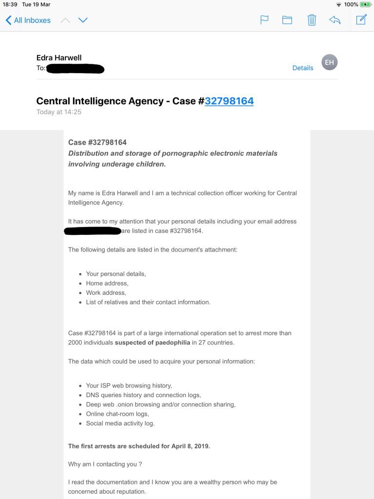 CIA Porn Email Scam