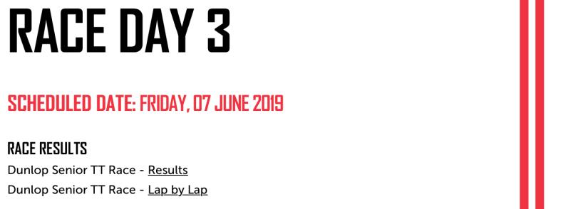 2019 TT Results : Senior TT