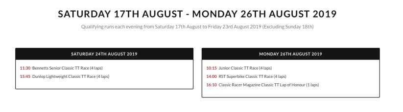 2019 Classic TT Race Schedule
