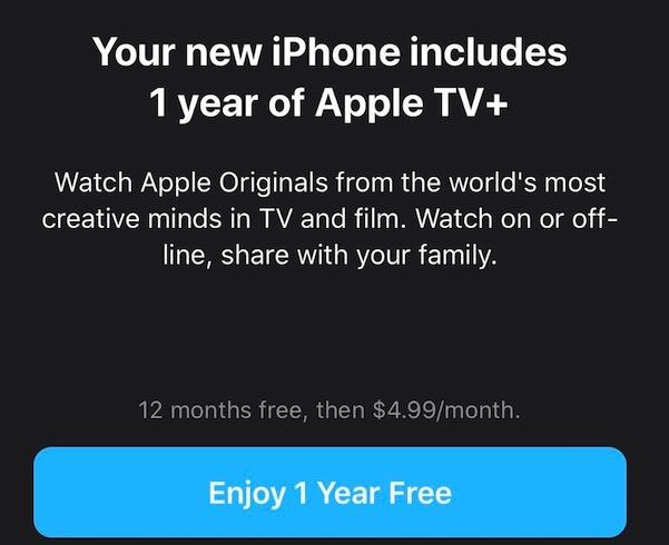 Apple TV+ 1 Year Free