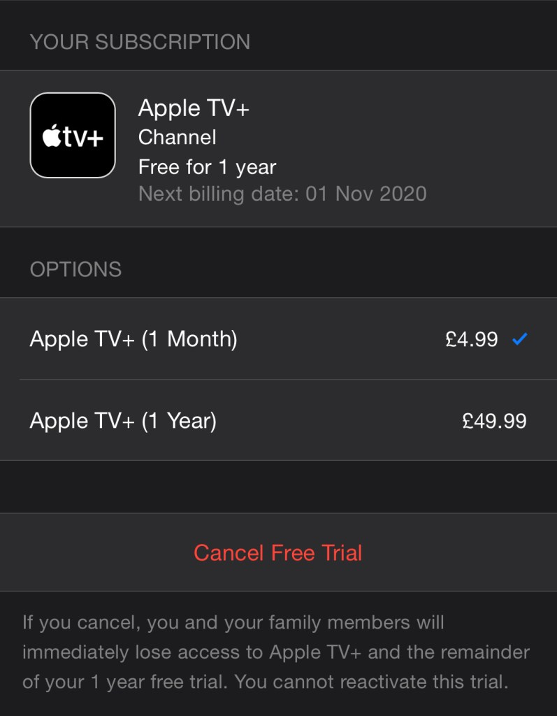 Apple TV+ Subscriptions
