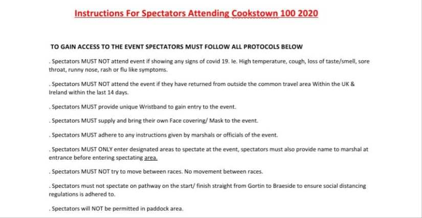 Important News for 2020 KDM Hire Cookstown 100 Spectators