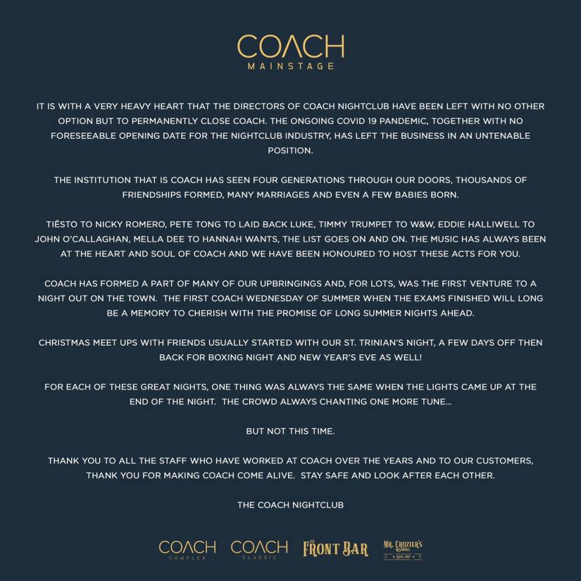 Statement from the Coach Nightclub : 04/11/2020
