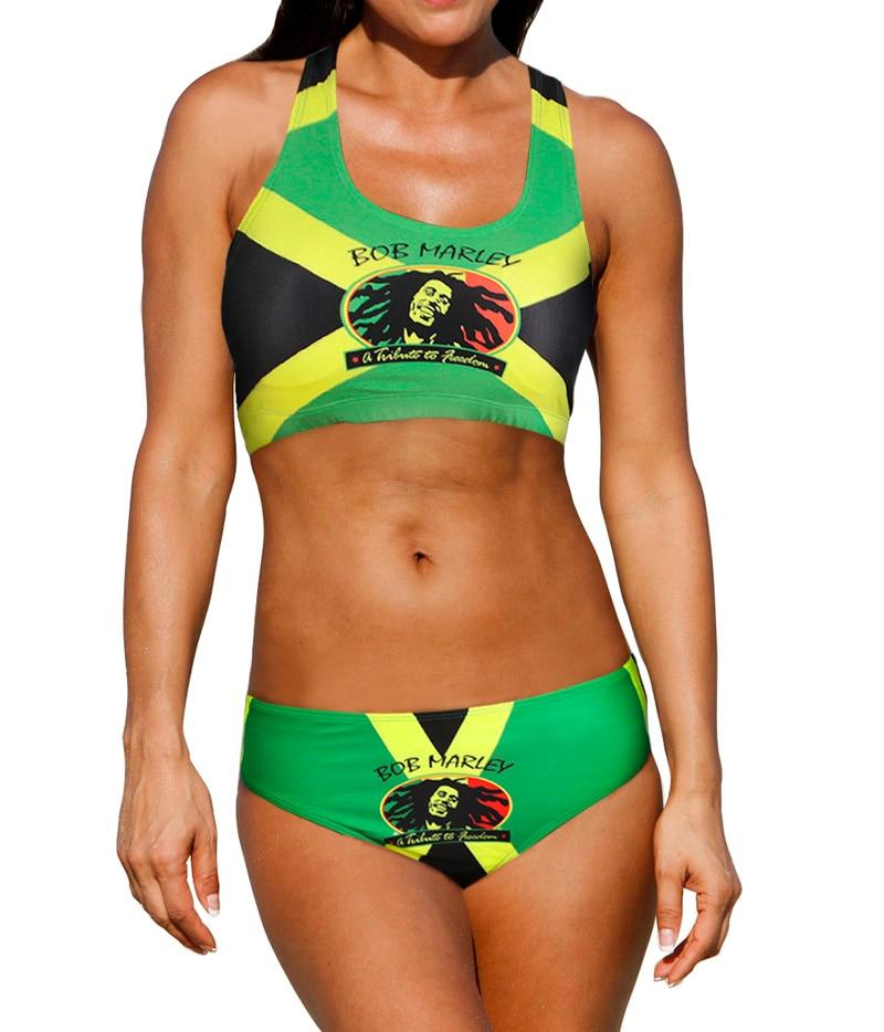 2931311bc0 Sexy Caribbean Jamaica flag Rasta Two Piece Bikini SWIMSUIT SWIMWEAR size S  M L XL XXL