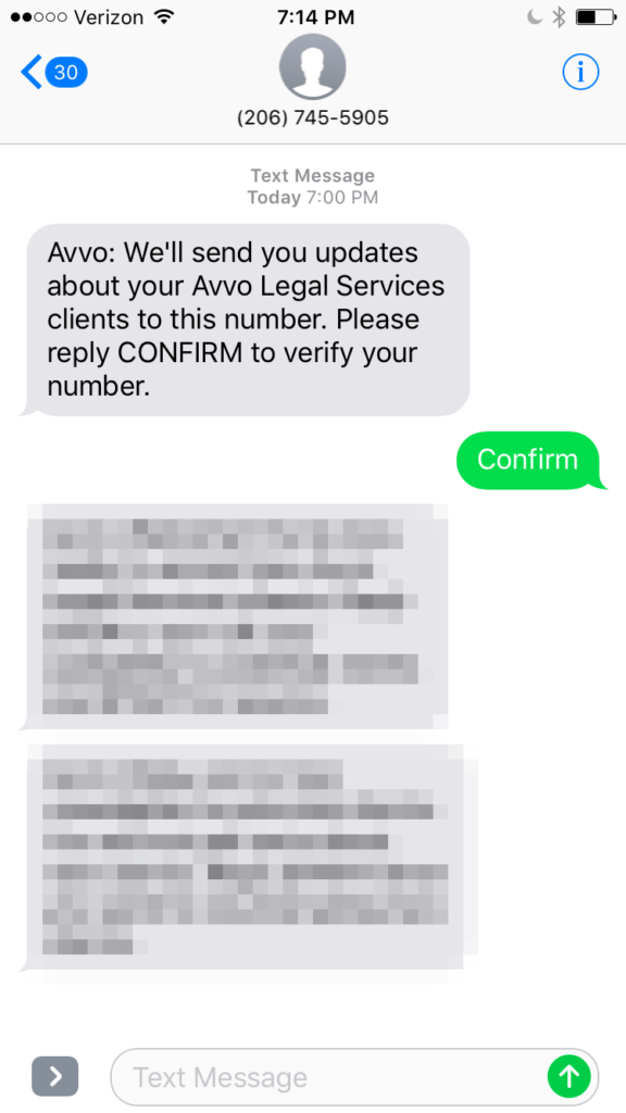Avvo Legal Services - Confirmation Text