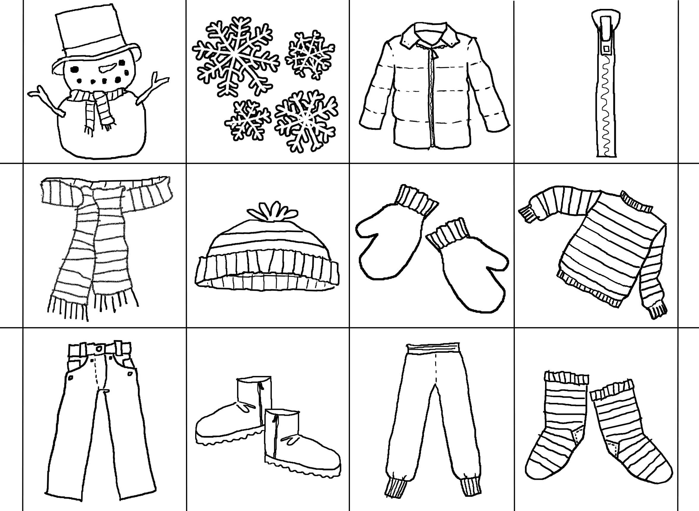 Winter Clothes Bingo