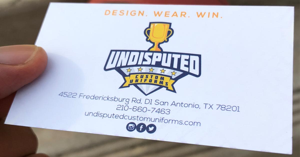Undisputed Custom Uniforms Business Card
