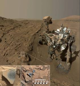 "This scene shows NASA's Curiosity Mars rover at a location called ""Windjana,"" where the rover found rocks containing manganese-oxide minerals, which require abundant water and strongly oxidizing conditions to form.Credits: NASA/JPL-Caltech/MSSS"