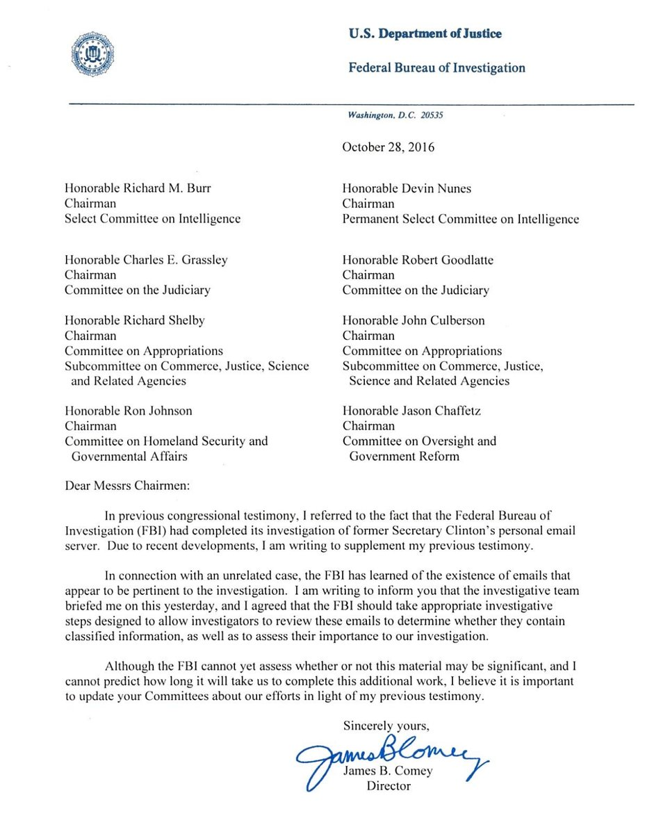 FBI Director James Comey letter to congressional leaders