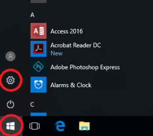 Image of Windows 10 Start Menu Settings Cog