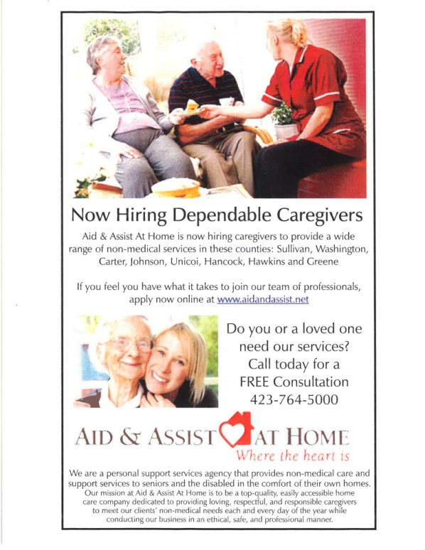 Aid & Assist  At Home Hiring Flier