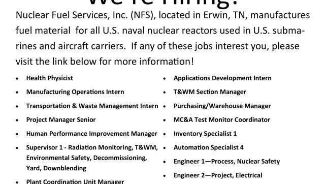 Nuclear Fuel Services is hiring!
