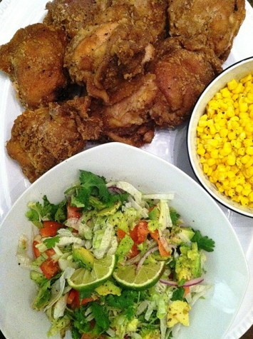Oven-fried Chicken and Salsa Fresca Salad