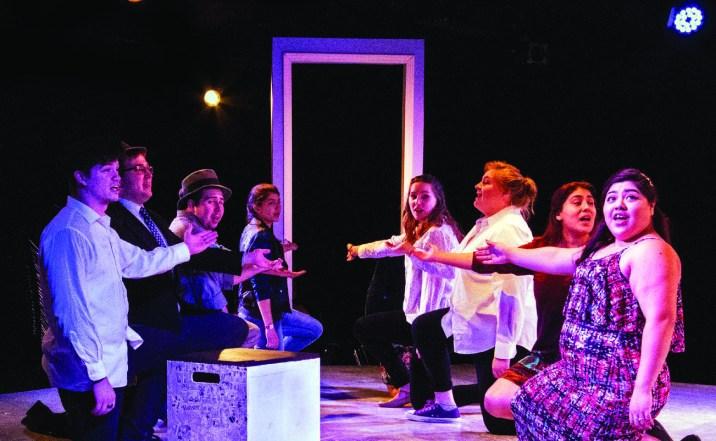 MCC Black Box Theatre with student actors performing