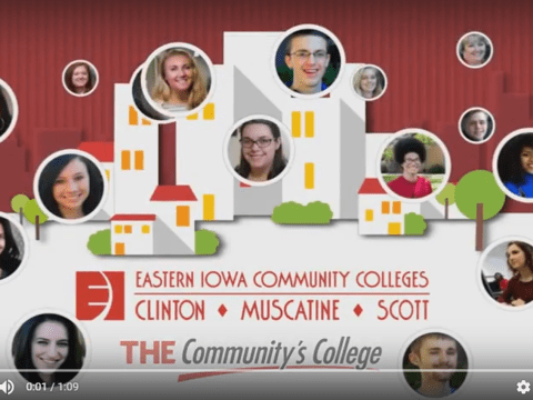 Screenshot of Youtube video, student faces, building graphic, EICC and The Commuinty's College logos